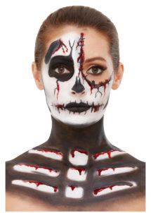 kit maquillage dia de los muertos, kit maquillage jour des morts, kit maquillage day of death, maquillage mort mexicaine, maquillage squelette, Kit de Maquillage Squelette, avec Faux Sang