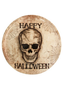 vaisselle halloween, plateau halloween, décorations halloween, Plateau Rond Tête de Mort, 33 cm