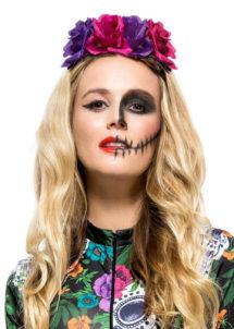 bandeau à fleurs, accessoire jour des morts halloween, couronne fleurs jour des morts déguisement, serre tête jour des morts déguisement, accessoire halloween, déguisement halloween jour des morts femme, Bandeau à Fleurs, Roses et Violettes, Jour des Morts