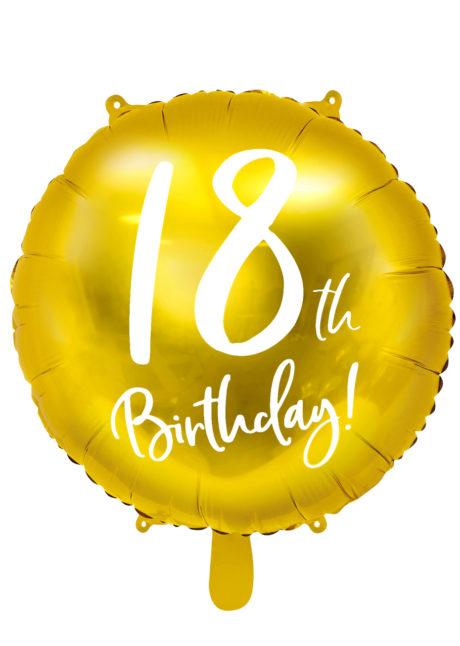 ballon 18 ans, ballon hélium, ballon anniversaire, ballon mylar, ballon aluminium, Ballon Anniversaire, 18 ans, Doré, en Aluminium