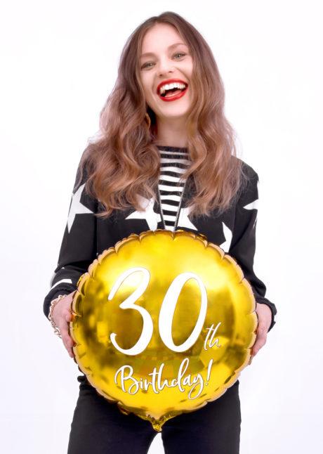 ballon 30 ans, ballon hélium, ballon anniversaire, ballon mylar, ballon aluminium, Ballon Anniversaire, 30 ans, Doré, en Aluminium