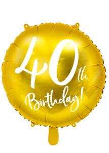 ballon 40 ans, ballon hélium, ballon anniversaire, ballon mylar, ballon aluminium, Ballon Anniversaire, 40 ans, Doré, en Aluminium