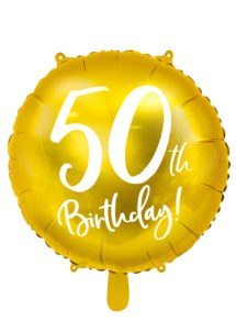 ballon 50 ans, ballon hélium, ballon anniversaire, ballon mylar, ballon aluminium, Ballon Anniversaire, 50 ans, Doré, en Aluminium