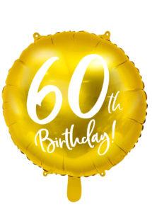 ballon 60 ans, ballon hélium, ballon anniversaire, ballon mylar, ballon aluminium, Ballon Anniversaire, 60 ans, Doré, en Aluminium
