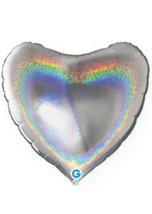 ballon coeur, ballon hélium, ballon aluminium, ballons coeurs argent hologramme, Ballon Coeur Argent Hologramme, en Aluminium