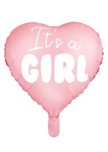 ballon baby shower, ballon baby shower, ballon naissance fille, Ballon Baby Shower, Coeur It's a Girl, en Aluminium