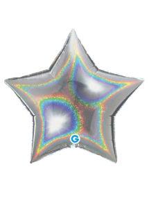 ballons étoiles, ballon hélium, ballon coeur aluminium, Ballon Etoile Argent Hologramme, en Aluminium