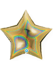 ballons étoiles, ballon hélium, ballon coeur aluminium, Ballon Etoile Dorée Hologramme, en Aluminium