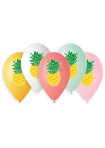 BALLONS-ANANAS-BA21564, Ballons Imprimés Ananas, en Latex, x 5