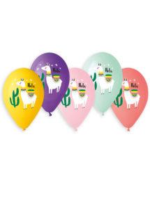 ballons hélium, ballon de baudruche, ballons lamas, ballons déocrés, Ballons Imprimés Lamas, en Latex, x 5