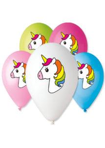ballons licornes, ballons enfants, ballon de baudruche, ballons hélium, ballons filles, Ballons Imprimés Licorne, en Latex, x 5