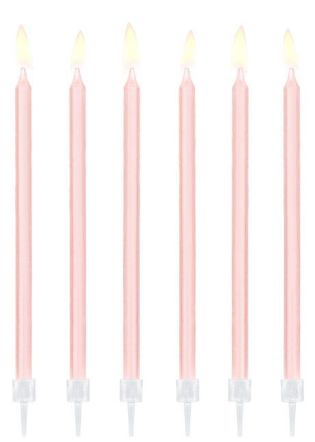 bougies anniversaire, bougies fines anniversaire, bougies longues anniversaires, bougies xl anniversaire, 12 Bougies d'Anniversaire XL, Light Pink