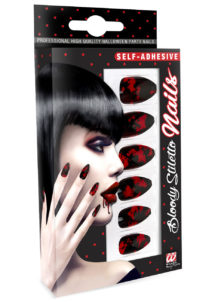 faux ongles noirs, faux ongles déguisements, faux ongles sorcière, faux ongles griffes, faux ongles halloween, faux ongles faux sang, Faux Ongles Noirs et Rouges, autoadhésifs