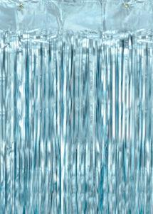 rideaux lamés, rideau de porte, rideau à lamelles brillantes, Rideau de Porte, Lamelles Bleu Ciel