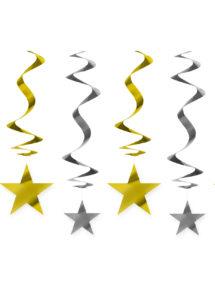 suspensions étoiles, décorations étoiles or et argent, décorations réveillons, Décoration Etoiles Or et Argent, Suspensions x 5