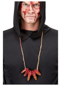 accessoires halloween, collier de faux doigts, collier zombie halloween, doigts coupés halloween, Collier de Doigts Coupés, sur Corde