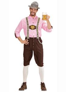 déguisement bavarois homme, costume bavarois homme, déguisement tyrolien homme, costume tyrolien homme, salopette bavaroise déguisement, déguisement homme, déguisement fête de la bière, déguisement oktoberferst, Déguisement Bavarois, Oktoberfest, Chemise Rose
