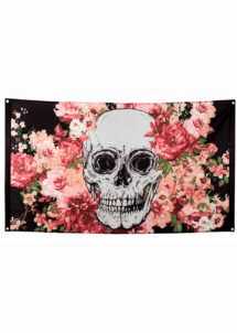 décoration jour des morts, décorations halloween, décorations day of death, drapeau tête de mort, Drapeau Jour des Morts, 90 x 150 cm