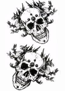 tatouages temporaires, faux tatouages, tatouages éphémères, tatouages tete de mort, Tatouages Temporaires, Crânes et Créatures