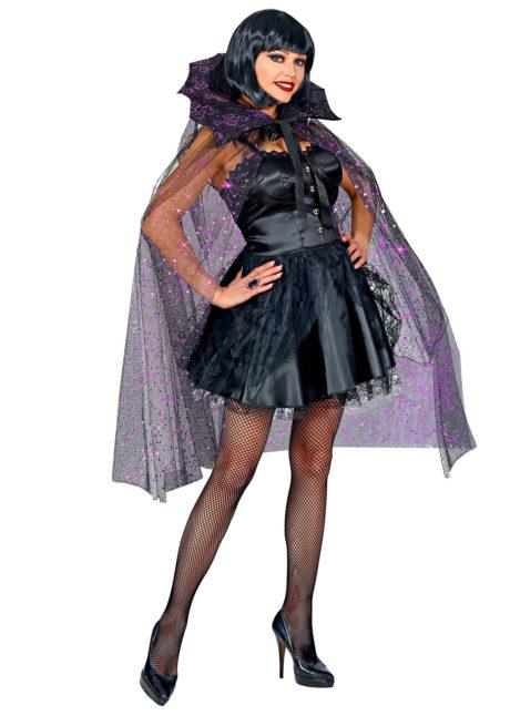 cape gothique, cape halloween, cape femme, cape tulle noir et paillettes, cape femme, Cape Gothique Scintillante, Halloween
