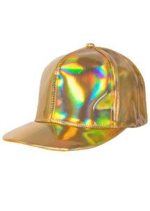 casquette disco dorée, casquette disco, accessoire disco doré, Casquette Disco Or Hologramme