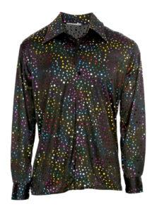 chemise disco noire paillettes multicolores, chemise disco brillante, Chemise Disco à Paillettes Multicolores