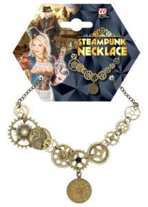 collier steampunk, accessoire steampunk, Collier Steampunk, Multiples Rouages sur Chaine