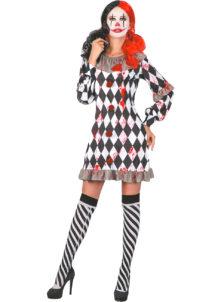 déguisement halloween femme, déguisement de clown arlequin halloween, Déguisement d'Arlequin Clown Ensanglantée