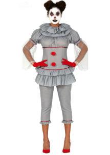 déguisement clown halloween femme, déguisement clown pennywise, costume clown halloween femme, Déguisement Clown Maléfique Grey