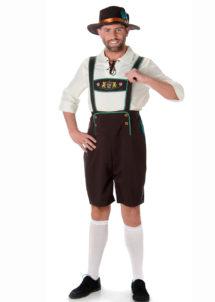 déguisement bavarois homme, costume bavarois homme, déguisement tyrolien homme, costume tyrolien homme, salopette bavaroise déguisement, déguisement homme, déguisement fête de la bière, déguisement oktoberferst, Déguisement Bavarois, Salopette Marron et Chemise