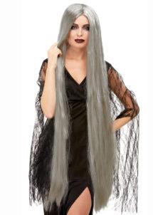 perruque grise sorcière, perruque grise zombie, perruque halloween, perruque fantôme, perruque extra longue, Perruque de Sorcière Extra Longue, Grise