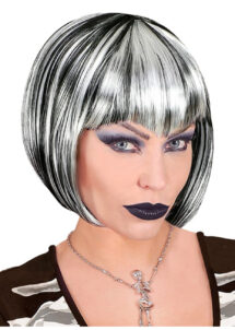 perruque halloween, perruque sorcière, perruque vampire, Perruque Vampiresse, Noire et Blanche