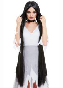 perruque noire sorcière, perruque halloween, perruque extra longue noire, perruque noire xl, Perruque de Sorcière Extra Longue, Noire