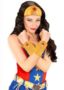 ACCESSOIRES-WONDER-WOMAN-couronne Wonder Woman, bracelets wonder woman, Kit de Super Héroïne