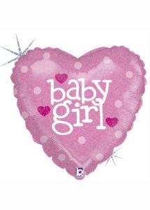ballon baby shower, ballon naissance fille, ballons babyshowers, ballons aluminium, Ballon Baby Shower, Coeur Baby Girl, en Aluminium