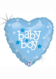 ballon baby shower garçon, ballon hélium, ballon à l'hélium, ballon naissance garçon, décorations baby shower garçon, Ballon Baby Shower, Coeur Baby Boy, en Aluminium