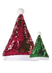 bonnet de noel sequins réversibles, bonnet de père Noel, Bonnet de Père Noël, à Sequins Réversibles