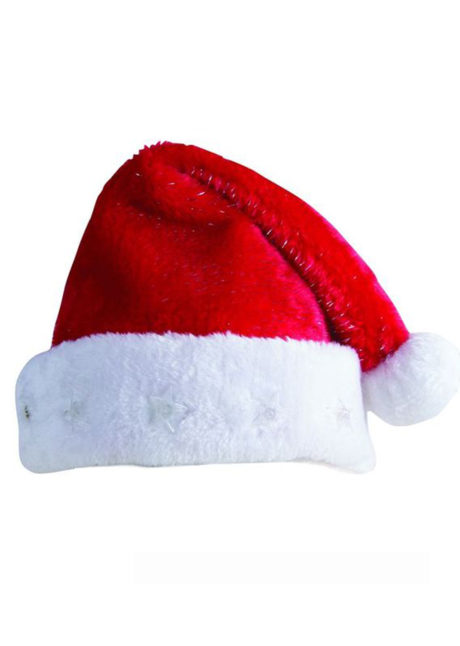 bonnet de noel, bonnet de père noel, bonnet de noel velours, bonnet de noel bonne qualité, bonnet de noel étoiles lumineuses, bonnet de noel lumineux, Bonnet de Père Noël, avec Etoiles Lumineuses