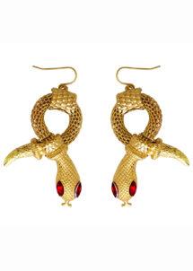 BOUCLES-OREILLES-SERPENT, bijoux cleopatre, bijoux égyptiens, bijoux serpents, Boucles d'Oreilles Egyptiennes, Serpent Doré