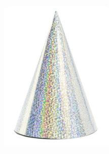 chapeaux pointus, chapeaux pointus en carton, chapeaux cotillons, Chapeaux Pointus Hologramme Argent x 6