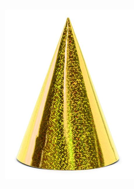 chapeaux pointus, chapeau pointu, chapeau pointu de fete, cotillons et chapeaux pointus, chapeaux de cotillons, chapeaux de fête, cotillons de réveillon, Chapeaux Pointus Hologramme Or x 6