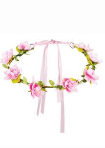couronne de fleurs, accessoire fée déguisement, accessoire déguisement fée, accessoire hippie déguisement, accessoire déguisement hippie, accessoire couronne de fleurs, bandeau fleurs déguisement, Bandeau Couronne de Fleurs Roses, avec Feuilles