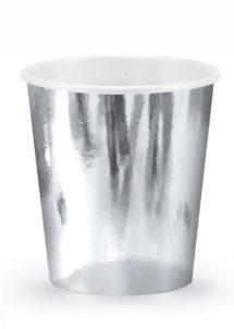 vaisselle jetable, gobelets argent, gobelets réveillon, vaisselle jetable argentée, Vaisselle Argent Métal, Gobelets 200 ml