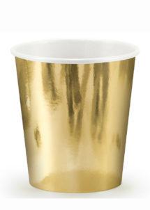 vaisselle jetable, gobelets dorés, gobelets réveillon, vaisselle jetable dorée, Vaisselle Dorée Métal, Gobelets 200 ml