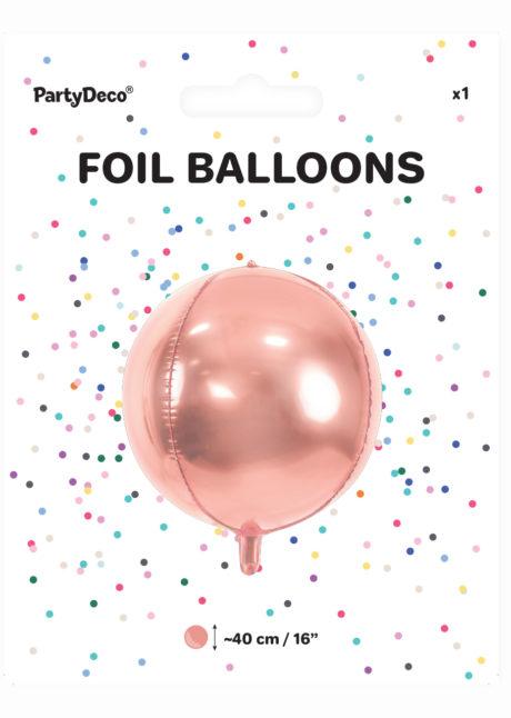 ballon hélium, ballon rose gold, ballon mylar, ballon aluminium, ballon rose gold, Ballon Boule Rose Gold, Globe Aluminium
