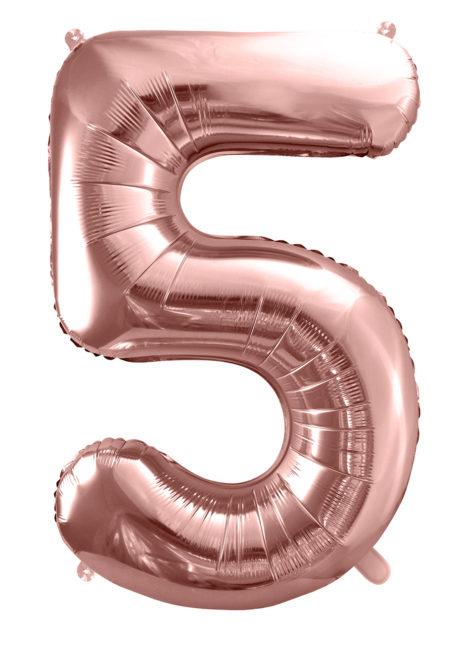 ballon chiffre, ballon chiffre 5, ballon chiffre géant, ballon chiffre rose gold, Ballon Chiffre 5, Rose Gold, 86 cm