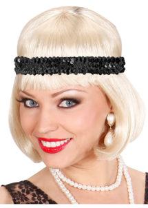bandeau à sequins, bandeau années 30, bandeau charleston, bandeau noirs à paillettes, Bandeau Elastique à Sequins Noirs