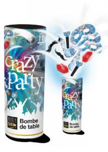 bombe de table, bombe de cotillons, cotillons bombe de table, Bombe de Table Crazy Party
