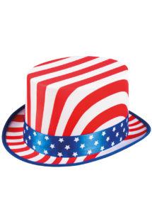 chapeaux, chapeaux haut de forme, chapeaux états unis, chapeaux paris, chapeau haut de forme, drapeaux américains, soirée états unis, chapeau oncle sam, Chapeau Haut de Forme, USA, avec Ruban Etoiles