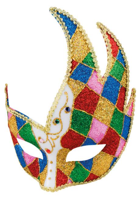 masque vénitien, loup vénitien, masque carnaval de Venise, masque vénitien arlequin, Loup Cygne Arlequin Paillettes